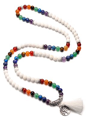 www.sayila.co.uk - Rainbow Chakra Mala necklace with natural stone and tassel (108 beads) 90cm