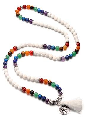 www.sayila.nl - Rainbow Chakra Mala halsketting met natuursteen en kwastje (108 kralen) 90cm