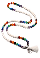 www.sayila.com - Rainbow Chakra Mala necklace with natural stone and tassel (108 beads) 90cm - J08767