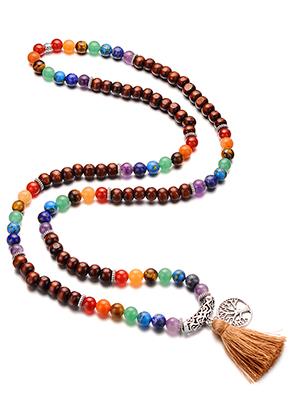 www.sayila.com - Rainbow Chakra Mala necklace with natural stone and tassel (108 beads) 90cm