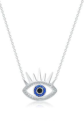 www.sayila.com - Stainless steel necklace eye with strass 44-49cm