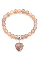 www.sayila.com - Natural stone bracelet Grey Agate with heart 18cm - J08804