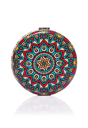 www.sayila-perlen.de - Kunststoff Taschenspiegel rund Mandala Print 7x1,5cm