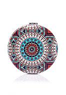 www.sayila-perles.be - Miroir de poche en synthétique ronde imprimé mandala 7x1,5cm - J08850