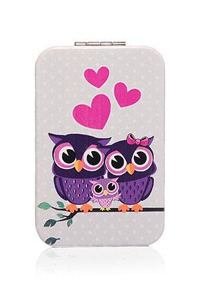 www.sayila.co.uk - Synthetic pocket-mirror rectangle with owls 9x6x1cm