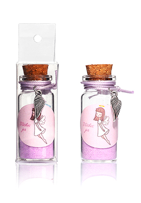 www.sayila.nl - Glazen wensflesje (Wish bottle) met armband vleugel 54x22mm