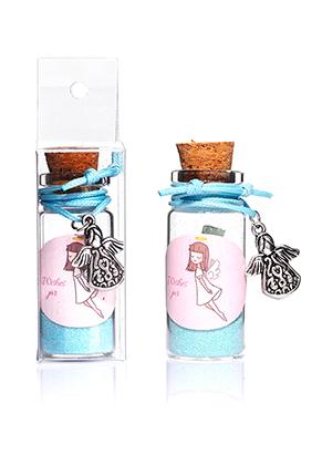 www.sayila-perlen.de - Glas Wunschflasche (Wish bottle) mit Armband Engel 54x22mm