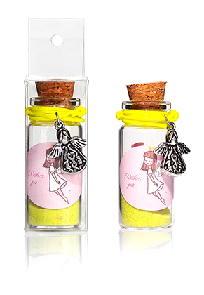 www.sayila.es - Botella de deseo (Wish bottle) de vidrio con pulsera angelito 54x22mm