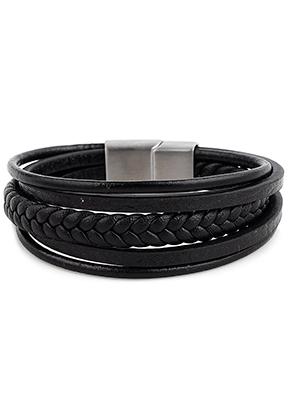 www.sayila.nl - Leren armband met roestvrijstalen sluiting 19cm