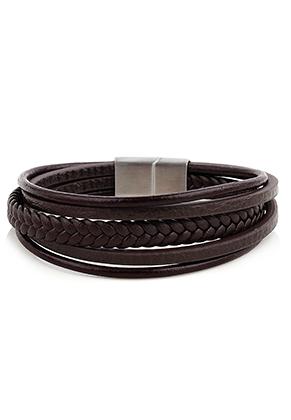 www.sayila.nl - Leren armband met roestvrijstalen sluiting 22,5cm