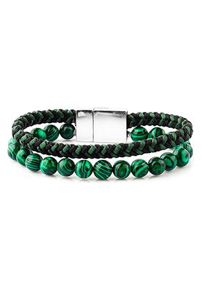 www.sayila.be - Leren armband met natuursteen Imitation Malachite 18cm