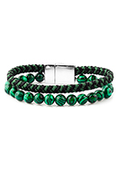 www.sayila-perles.be - Bracelet en cuir avec pierre naturel Imitation Malachite 18cm - J09179