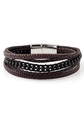www.sayila.com - Leather bracelet with natural stone Agate 21cm