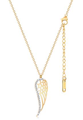 www.sayila-perlen.de - Edelstahl Halskette Flügel mit Strass 44-49cm