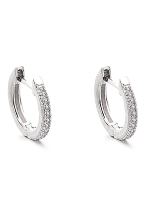 www.sayila.com - Brass hoop earrings with zirconia 14x13mm