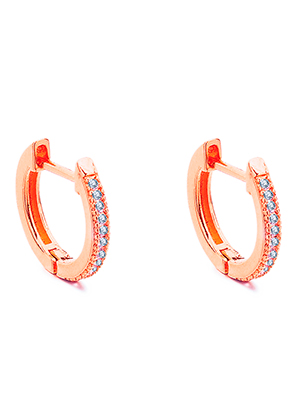www.sayila.com - Brass hoop earrings with zirconia 14x13mm