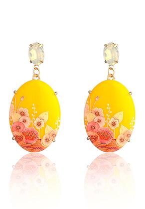 www.sayila.com - Ear studs oval with flowers 66x31mm