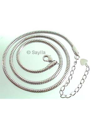 www.sayila.co.uk - Large-hole-style metal necklace high quality ± 44cm (3mm + 4mm wide) with clasp