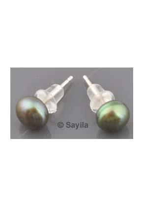 www.sayila.nl - 925 Zilveren oorsteker (sterling silver) met echte zoetwaterparel, met dopje ± 16x6mm