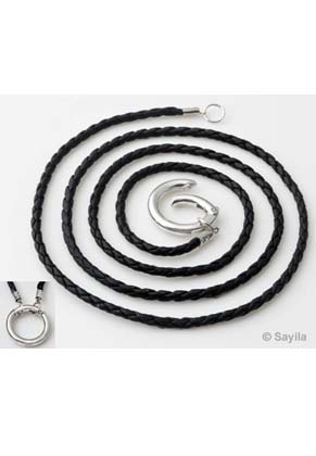 www.sayila.com - DoubleBeads EasyClip Imitation leather necklace ± 80cm with metal ring clasp ± 24mm