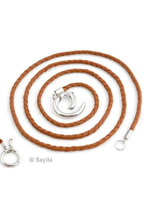 www.sayila.com - DoubleBeads EasyClip Imitation leather necklace ± 84cmx3mm with metal ring clasp ± 24mm