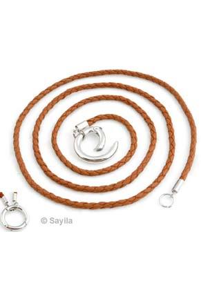 www.sayila.be - DoubleBeads EasyClip Halsketting van imitatie leer ± 84cmx3mm met metalen ring sluiting ± 24mm