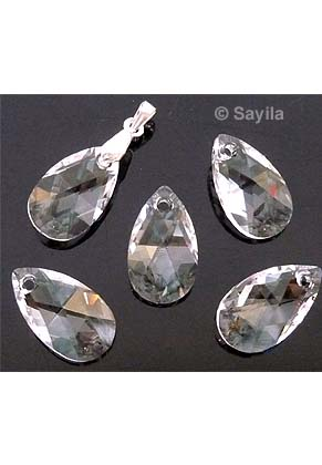 www.sayila.com - SWAROVSKI ELEMENTS pendant/charm 6106 ''Pear-shaped Pendant'' drop faceted ± 28x16,5mm, ± 10mm wide