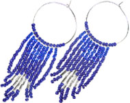 www.sayila.nl - Sayila Mini Project Blue fringy earrings