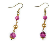 www.sayila.nl - Sayila Mini Project Fuchsia and gold Earrings