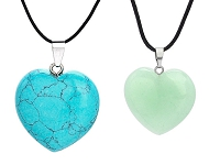www.sayila.com - New heart-shaped natural stone pendants
